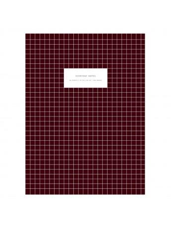 Notebook Large Softcover Check Bordeaux -  Kartotek