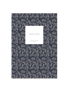 Notebook Softcover M Leaves Navy - Kartotek