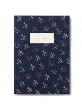 Notebook Small Softcover A5  Floral Navy - Kartotek