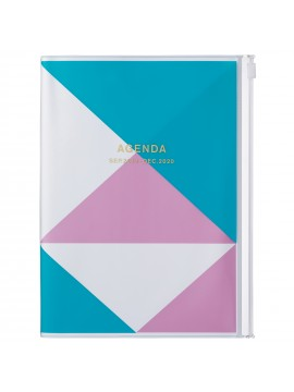 2020 diary weekly vertical 16 Months A5 Blue - Geometric
