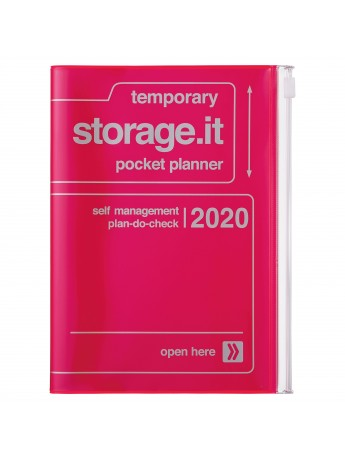 2020 diary weekly B6 Vertical 15 Months Neon Pink - Storage.it