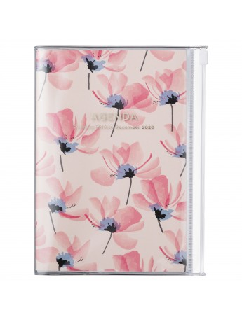 2020 diary weekly B6 Vertical 15 Months Pink - Flower