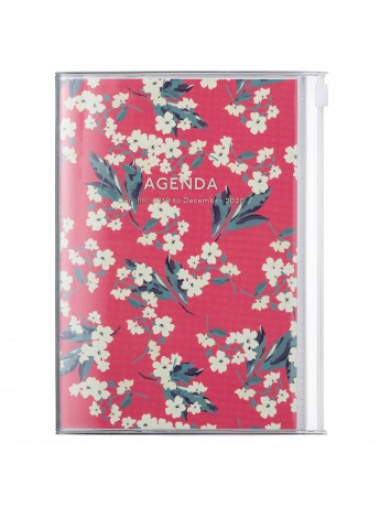 2020 diary weekly B6 Vertical 15 Months Red - Flower