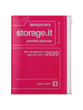 2020 diary weekly vertical 16 Months A6 Neon Pink - Storage.it