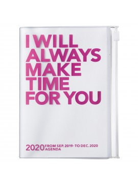 2020 diary weekly vertical 16 Months A6 Pink - Clear Storage