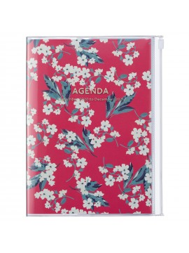 Diary 2021 B6 Vertical Type  Zipped Cover 16 hours Red - Flower