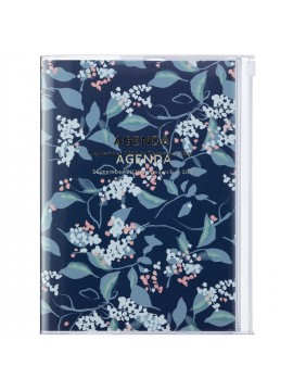 Diary 2021 B6 Vertical Type  Zipped Cover 16 hours Navy - Flower