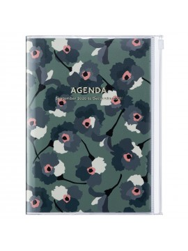 Diary 2021 B6 Vertical Type  Zipped Cover 16 hours Green - Flower