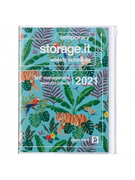 Diary 2021 B6 Vertical Type  Zipped Cover 16 hours Turquoise - Jungle