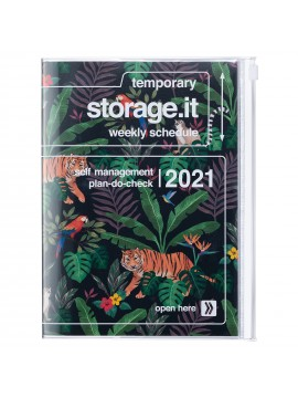 Diary 2021 B6 Vertical Type  Zipped Cover 16 hours Black - Jungle
