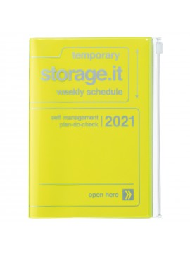Diary 2021 B6 Vertical Type  Zipped Cover 16 hours Neon Yellow - Storage.it