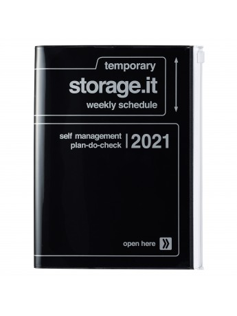 Diary 2021 Weekly Diary large-sized scheduler A5 Vertical Type Time Base 16H Black - Storage.it