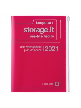Diary 2021 Weekly Diary large-sized scheduler A5 Vertical Type Time Base 16H Neon Pink - Storage.it