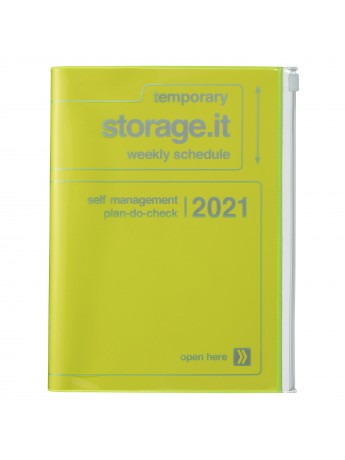 Diary 2021 Weekly Diary large-sized scheduler A5 Vertical Type Time Base 16H Neon Yellow - Storage.it