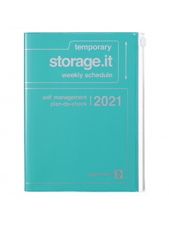 Diary 2021 Weekly Diary large-sized scheduler A5 Vertical Type Time Base 16H Turquoise - Storage.it