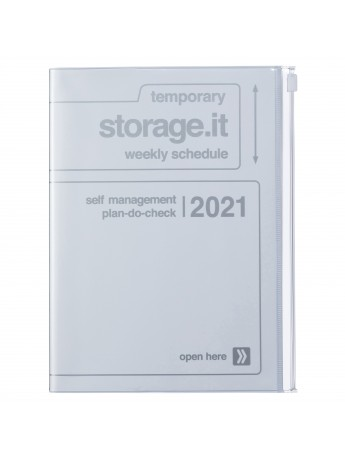 Diary 2021 Weekly Diary large-sized scheduler A5 Vertical Type Time Base 16H White - Storage.it