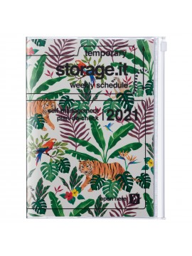 Diary 2021 Weekly Diary large-sized scheduler A5 Vertical Type Time Base 16H Beige - Jungle
