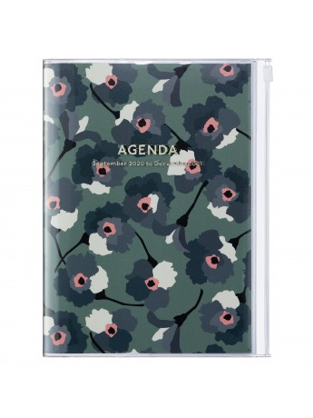Diary 2021 Weekly Diary large-sized scheduler A5 Vertical Type Time Base 16H Green - Flower