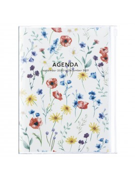 Diary 2021 Weekly Diary large-sized scheduler A5 Vertical Type Time Base 16H Ivory - Flower