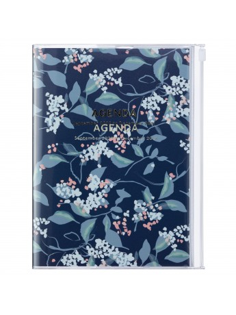 Diary 2021 Weekly Diary large-sized scheduler A5 Vertical Type Time Base 16H Navy - Flower