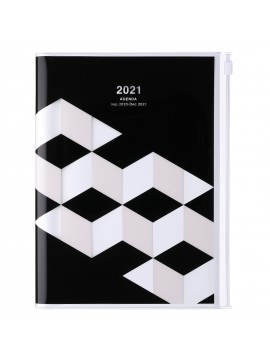 Diary 2021 Weekly Diary large-sized scheduler A5 Vertical Type Time Base 16H Black - Geometric