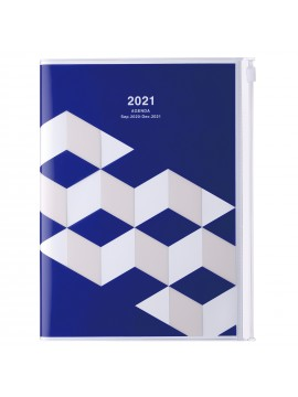 Diary 2021 Weekly Diary large-sized scheduler A5 Vertical Type Time Base 16H Blue - Geometric