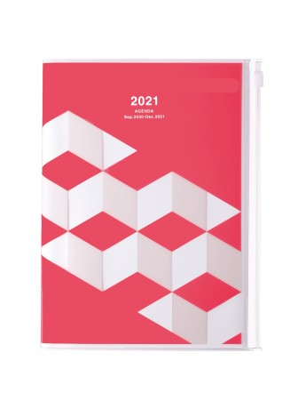 Diary 2021 Weekly Diary large-sized scheduler A5 Vertical Type Time Base 16H Pink - Geometric