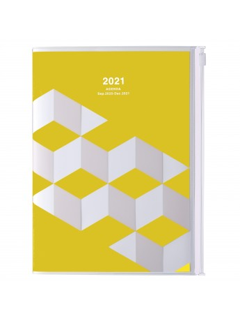 Diary 2021 Weekly Diary large-sized scheduler A5 Vertical Type Time Base 16H Yellow - Geometric