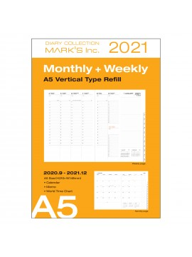 Diary Refill Weekly Planner 2021 A5 Vertical Type 16 Hour Base - Mark's