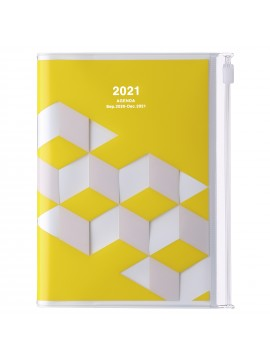 Diary 2021 Compact A6 Compact Weekly Planner Vertical 16H Time Base Yellow - Geometric