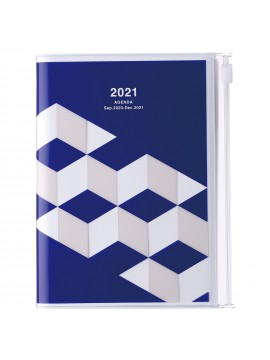 Diary 2021 Compact A6 Compact Weekly Planner Vertical 16H Time Base Blue - Geometric