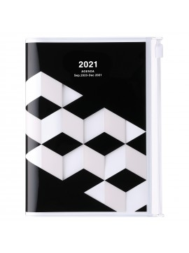 Diary 2021 Compact A6 Compact Weekly Planner Vertical 16H Time Base Black - Geometric