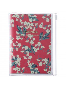 Diary 2021 Compact A6 Compact Weekly Planner Vertical 16H Time Base Red - Flower