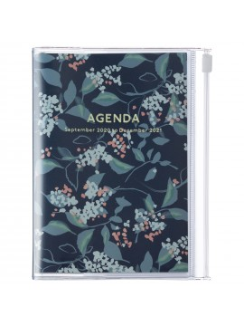 Diary 2021 Compact A6 Compact Weekly Planner Vertical 16H Time Base Navy - Flower