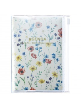 Diary 2021 Compact A6 Compact Weekly Planner Vertical 16H Time Base Ivory - Flower