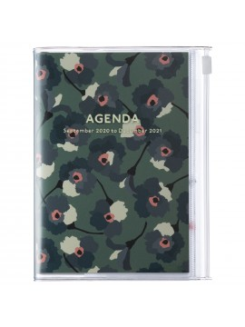 Diary 2021 Compact A6 Compact Weekly Planner Vertical 16H Time Base Green - Flower