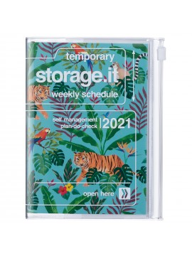 Diary 2021 Compact A6 Compact Weekly Planner Vertical 16H Time Base Turquoise - Jungle