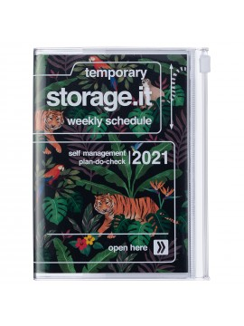 Diary 2021 Compact A6 Compact Weekly Planner Vertical 16H Time Base Black - Jungle