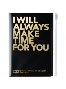 Diary 2021 Compact A6 Compact Weekly Planner Vertical 16H Time Base Black - Make time