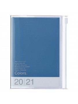 Diary 2021 Compact A6 Compact Weekly Planner Vertical 16H Time Base Blue - Colors