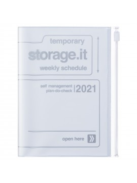 Diary 2021 Compact A6 Compact Weekly Planner Vertical 16H Time Base White - Storage.it