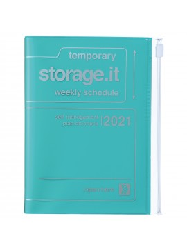 Diary 2021 Compact A6 Compact Weekly Planner Vertical 16H Time Base Turquoise - Storage.it