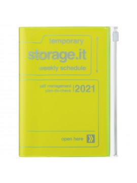 Diary 2021 Compact A6 Compact Weekly Planner Vertical 16H Time Base Neon Yellow - Storage.it