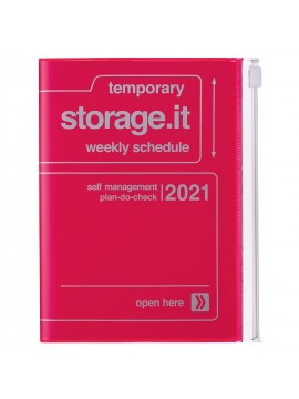 Diary 2021 Compact A6 Compact Weekly Planner Vertical 16H Time Base Neon Pink - Storage.it