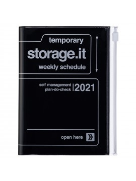 Diary 2021 Compact A6 Compact Weekly Planner Vertical 16H Time Base Black - Storage.it