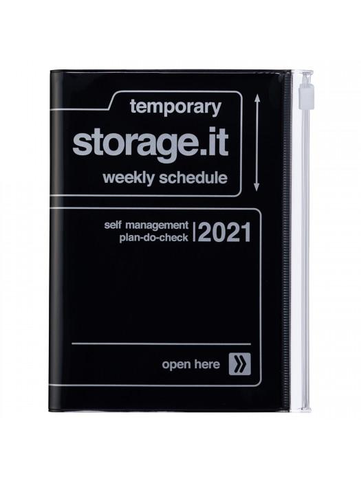 Agenda Semainier 2021 Compact A6 Type Vertical Base Horaire 16h Noir Storage It Marks Store