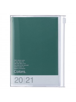 Diary 2021 Compact A6 Compact Weekly Planner Vertical 16H Time Base Green - Colors