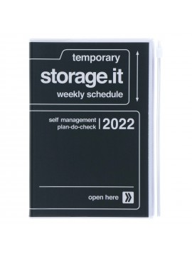 Diary 2022 B6 Vertical Type Zipped Recycled Cover 16 hours Black - Storage.it Mark's