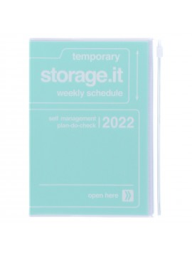 Diary 2022 B6 Vertical Type Zipped Recycled Cover 16 hours Mint - Storage.it Mark's