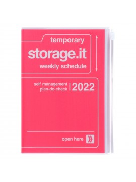 Diary 2022 B6 Vertical Type Zipped Recycled Cover 16 hours Pink - Storage.it Mark's